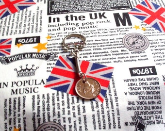 1950 British Farthing Coin Keyring Key Chain Fob King George VI Wren