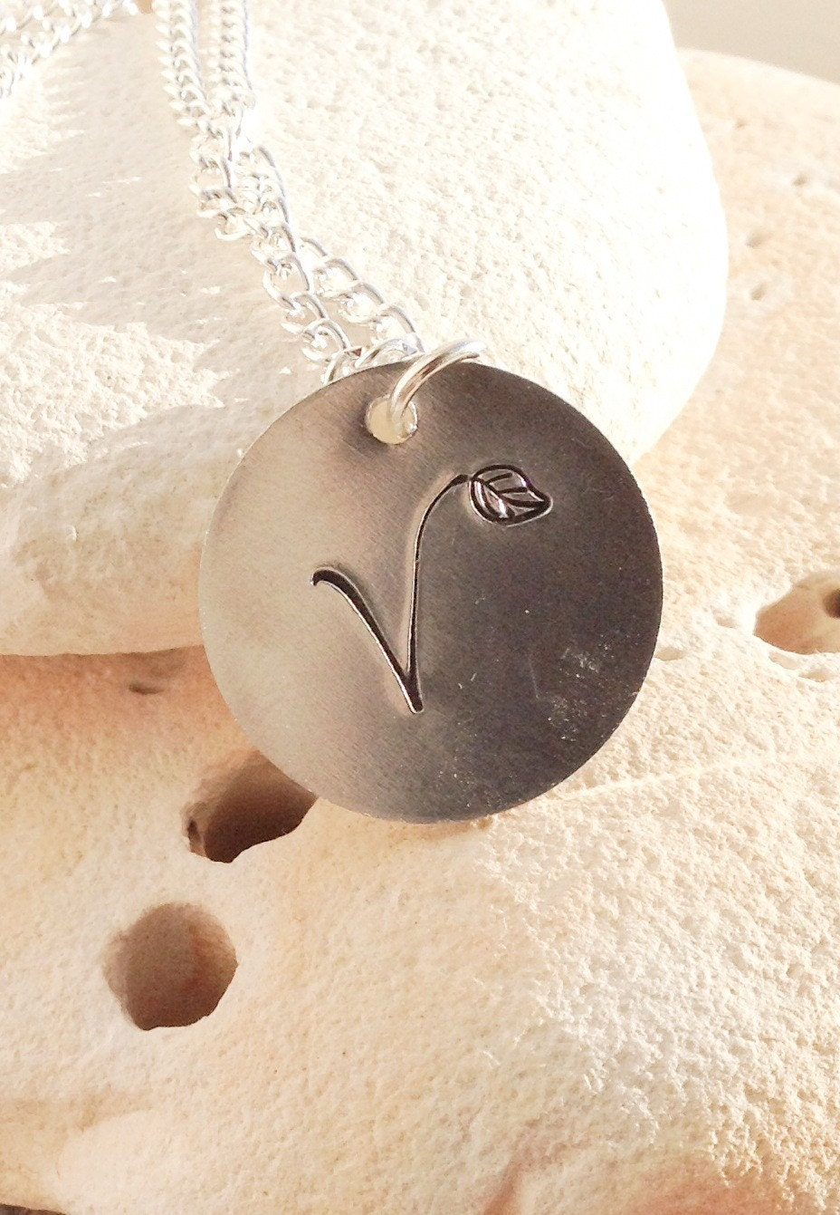 """V for vegan necklace - vegan jewellery - subtle vegan message - uk vegan -  with leaf detail on 16"""" chain"""