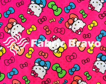 Hello Kitty Bright Neon Pink 100 Percent Cotton Fabric By The Full Yard 5502