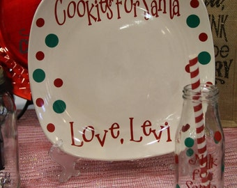 Cookies for Santa Plate, Santas Milk Glass, Santa Cookie Plate, Holiday Keepsake, Personalized Gift, Christmas Eve Tradition