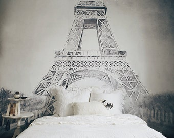 "Vintage Illustration, Eiffel Tower Mural, Black and White Wallpaper, Vintage Illustration - 108"" x 88"""