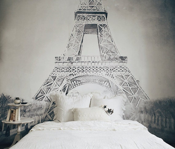 Vintage illustration eiffel tower mural black and white for Eiffel tower mural wallpaper