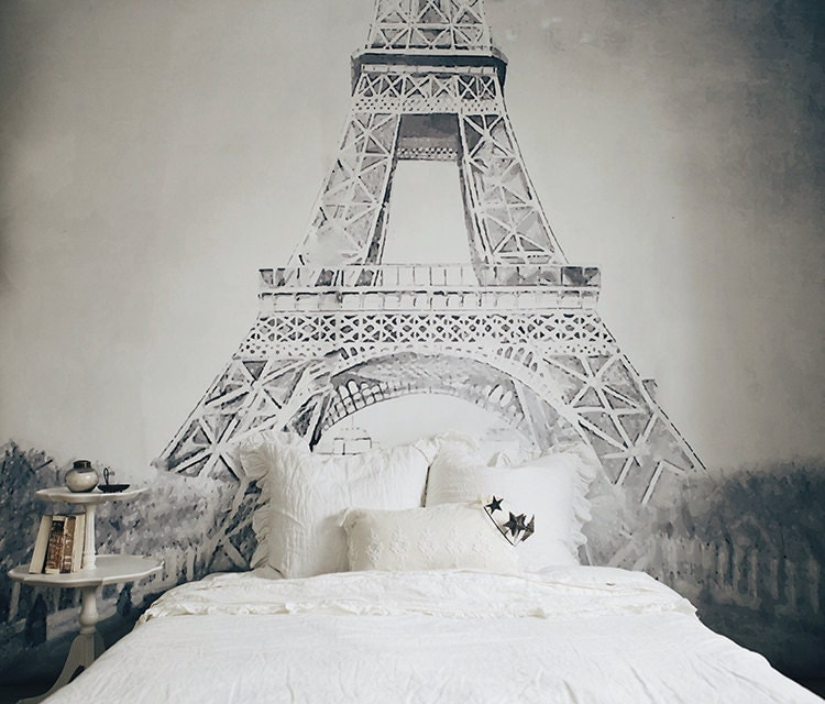 Vintage illustration eiffel tower mural black and white for Eiffel tower mural black and white
