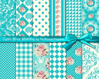 "Floral digital paper : ""Cyan Blue Shabby"" shabby chic digital paper with pink roses, gingham, polka dot, damask, decoupage paper"
