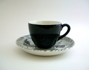 Demitasse Teacup, Black Teacup, Black Demitasse, Teacup & Saucer, Teacup Set, Black and White Teacup, Vintage Teacup, Vintage Demitasse