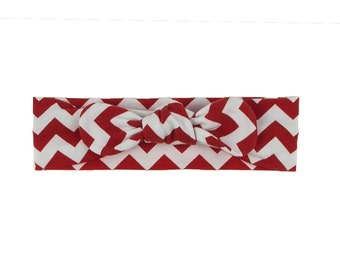 Baby Headband, Toddler Headband, Adult Headband, Baby Girl Headband, Top Knot Headband, Bow Headband, Chevron Headband, Red White Chevron