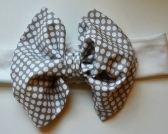 Baby/Little Girl Gray Fluffy Bow Headband with White Polka Dots