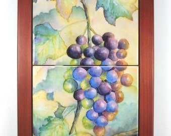 Grapes Tile Framed Mural Wall Hanging or Trivet Original Watercolor