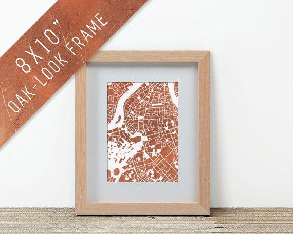 items similar to oak look frame 8x10 rose gold city map prints rome florence paris london rio spain athens for wanderlust travellers on etsy