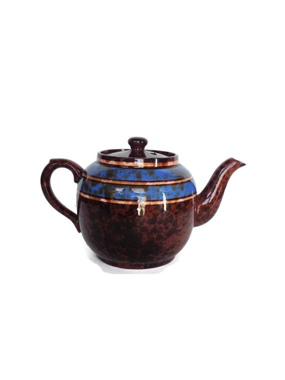 Vintage Price Kensington teapot brown and blue ceramic pot made in England