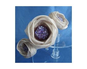 50% SALE - Ivory and lilac triple silk peony headpiece