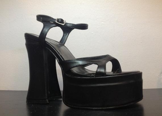 90s Black Platform Sandals 1990s Strappy Platform by ...