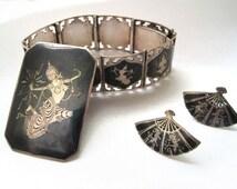Sterling Silver and Enamel, Siam Jewelry Set,Miello Ware, Mekkala Bracelet, Screwback Earrings, Large Brooch, Vintage Jewelry with Hallmarks
