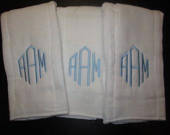 Monogrammed Burp Cloth Set of 3