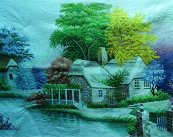 Riverside house embroidered Cross stitch