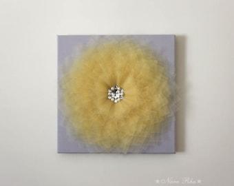 Wall Flower Decor Fiber Art 3D Flower Art  12X12 Canvas Yellow Flower On Gray Wall Art Nursery Wall Room Decor
