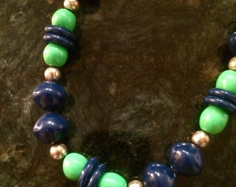 Vintage Navy and Lime Beaded Necklace, Costume Jewelry