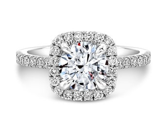 Round Center 6.5mm Forever One Moissanite in a Cushion Halo Engagement Ring