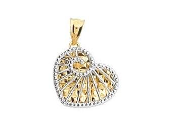 14K Two-Tone Diamond-Cut Heart Pendant, Heart Pendant, Gold Pendant, Fancy Pendant, Fancy Jewelry, Heart Pendant, Heart Jewelry, Heart