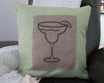 "Margarita Glass 18"" x 18"" Throw Pillow Cover"