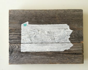 Hand Painted State Barnwood Wall Art