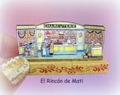 """Diorama """"La charcutería"""", escala 1/12, miniatura para casas de muñecas."""
