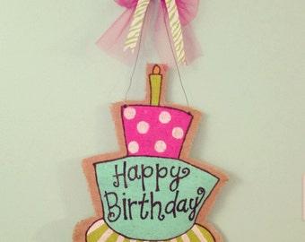Burlap Birthday Door Hanger
