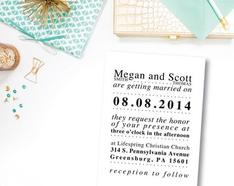 Simple Black Wedding Invite | Digital File