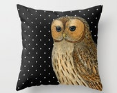 Black and White Polka Dots Vintage Owl Illustration on an Accent Pillow Cover  - Owl Decor - Throw Pillows - Decorative Pillows