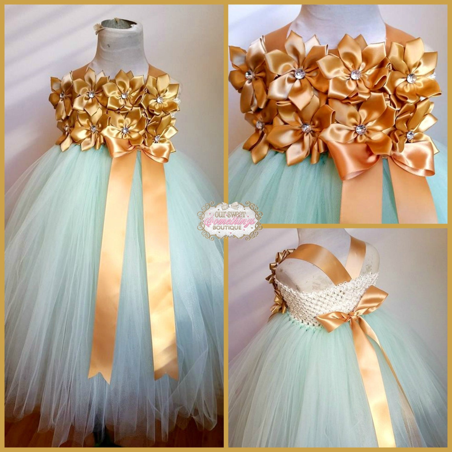 Mint and Gold Flower Girl Tulle Tutu Dress by OurSweetSomethings4U