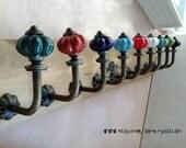 Pastoralism Wrought Iron Hook - Ceramic Flowers Wall Hook /Curtain Hook /Coat Hook /Clothes-hook /Cabinet Hook /Furniture Accessories  C(35)