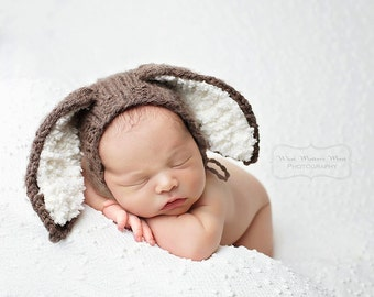 Newborn/3-6/6-12 month size knit bunny rabbit bonnet