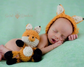 Newborn crocheted buddy fox