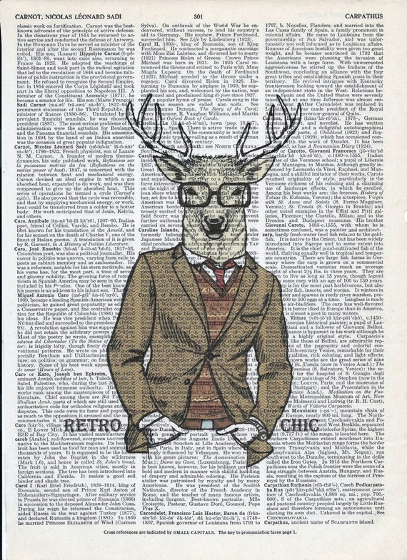 Fashion Illustraion of Deer Print on Upcycle Vintage Page Book Print Art Print Dictionary Print Collage Print