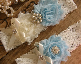 Something Blue / Ivory & Light Blue / Wedding Garters / Bridal Garter / Toss Garter / Garter Set / Vintage Inspired Lace Garter