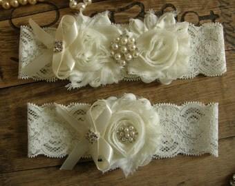 Ivory Wedding Garters / Lace Garter / Bridal Garter Set / Bridal Garter / Toss Garter / Vintage Inspired