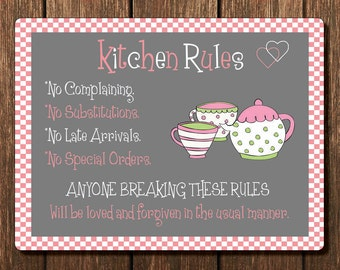 Vintage Metal Wall Sign   Kitchen Rules (RULES00004)