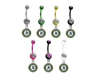 Oakland Athletics PREMIUM TITANIUM Anodized w/ Gem Sexy Belly Navel Ring (Pick Your Color)