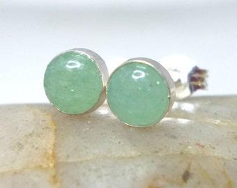 Green Aventurine Earrings 5MM.. Aventurine Stud Earrings .. Sterling Silver Studs .. Handmade Jewelry