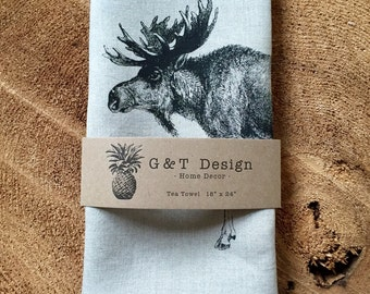 Moose Tea Towel Screen Printed onto 100% Natural Linen, Hostess Gift, Mothers Day