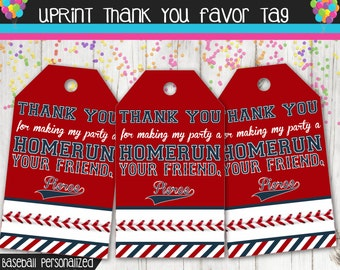 Baseball Party Thank You Tags - Printable - Personalized - Custom - Favor Tags -