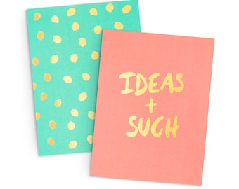 Gold Foil Notebooks | Set of 2 Pocket Notebooks | Ideas & Such and Polka Dot Pattern