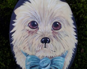 Maltese puppy painting on wooden board