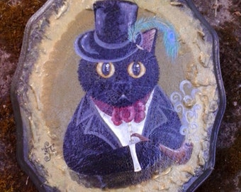 Pipe smoking black cat in top hat and Victorian style clothing