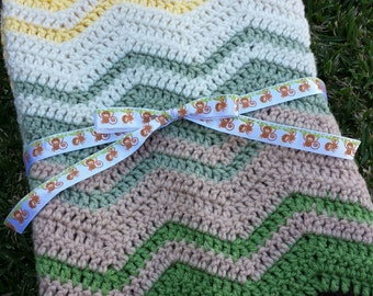 Crochet Monkey Ripple Baby Blanket - Ready to Ship