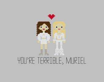 Cross Stitch Pattern - Muriel's Wedding//Craft Supplies//PDF Pattern//Instant Download//Digital Download//Digital Download