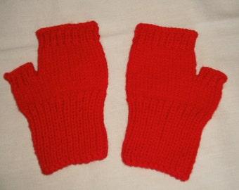 Hand knit Fingerless Gloves - Red