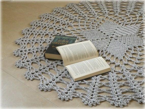 elegante tappeto uncinetto cotone grigio perla elegante
