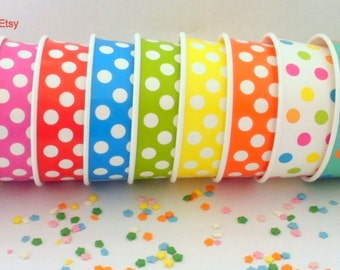 50 Polka Dot Ice Cream Cups - Your Choice of Color - Medium 12 oz