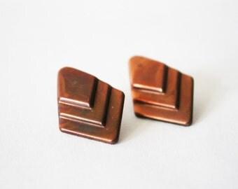 Vintage Diamond Shaped Copper Post Earrings